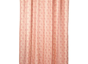"""VHC Brands Ruffled Genevieve Shower Curtain. Romantic soft pink floral pattern with dreamy 5"""" ruffle edge"""