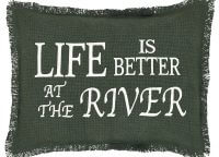 "VHC Brands. Life is Better River Lodge Pillow Cover. ""Life is better at the River"" is woven into the burlap fabric for soft and natural look and feel. 14″ x 18″"