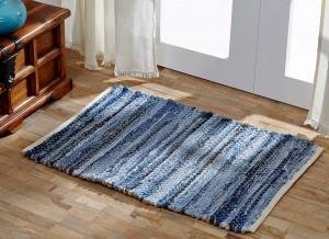 VHC Brands. Laketime Denim Blues Rug. Blue nostalgic 100% Cotton denim with a hemp backing. 48″ X 72″