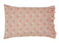 Genevieve Pillowcase Set, soft floral pattern with pink tones, case has a four inch ruffle at opening