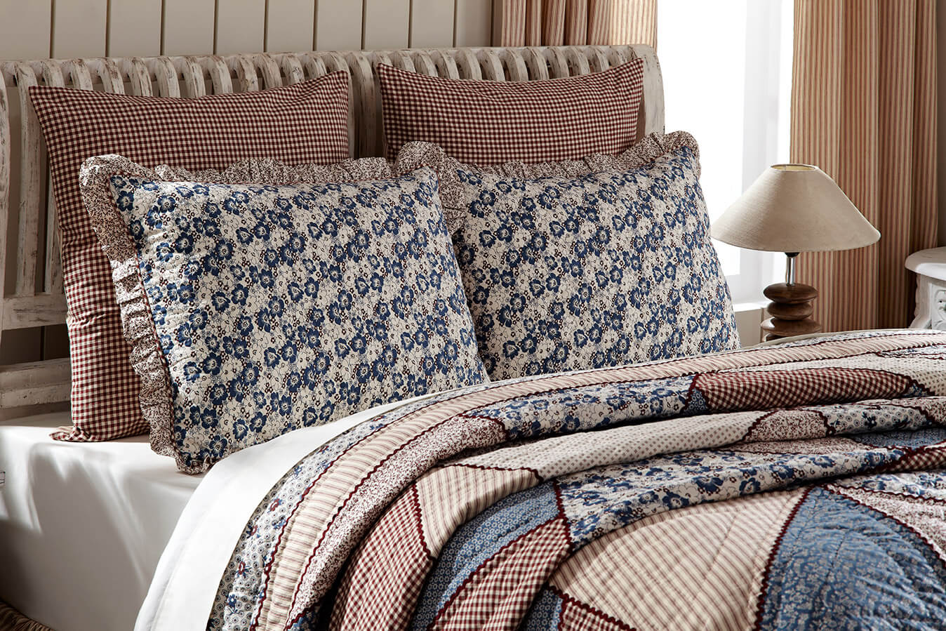 vhc brands laketime cottage blues luxury quilt attractive patchworked hues of summer lake blue - Vhc Brands