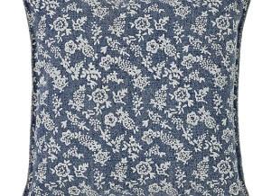 VHC Brands. Laketime Cottage Blues Euro Sham. Summertime cottage perfect. Floral on worn blue background. 100% cotton. 3-button closure.