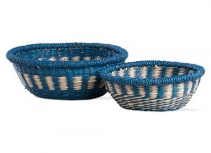 Indigo Handwoven Table Baskets, set of 2. Mountain bohemian décor in Indigo blue and cream. 3″ High x 8.5″ Diameter and 3.75″ High x 10.5″ Diameter