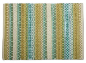 Forest Hues Artisan Rug. Nostalgic handwoven artistic piece with forest hues of aqua, olive, green, and cream. 100% Cotton. 36″ x 24″