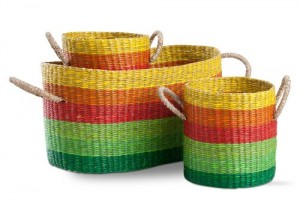 Cheery Market Baskets Set of 3. Bright natural handwoven seagrass baskets. Easy-carry handles. Upbeat striped tones-yellow, orange, red and multiple green shades. 8″h x 16.5″l x 8″w
