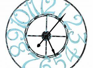 Spa Blue Metal Wall Clock