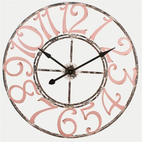 Coral Metal Wall Clock Teton Timberline Trading