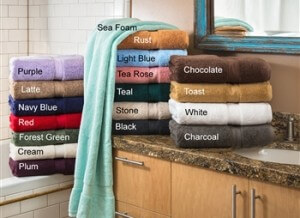 Plush GSM Towel Set, 3 Piece. Luxurious! Set of 900 GSM Extra-Absorbent Egyptian Cotton Towels. Solid 2-Ply Terry Cloth. Towels will not fade in wash. Available in 18 solid colors. Set includes a bath, hand, and face towel.