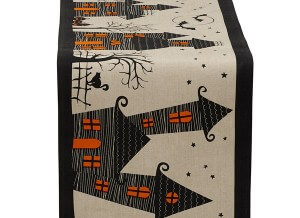 Haunted Hollow Table Runner, Imprinted with Haunted Hauses on a cream background with Black Bats flying overhead
