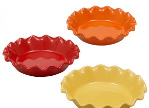 Design Imports Harvest Stoneware Pie Plates in Gold, Brick Red, and Orange, stoneware, dishwasher safe