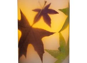 Flameless LED Autumn Leaves Pillar Candle-Short