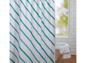 White Burlap Sea Glass Shower Curtain with Ruffles