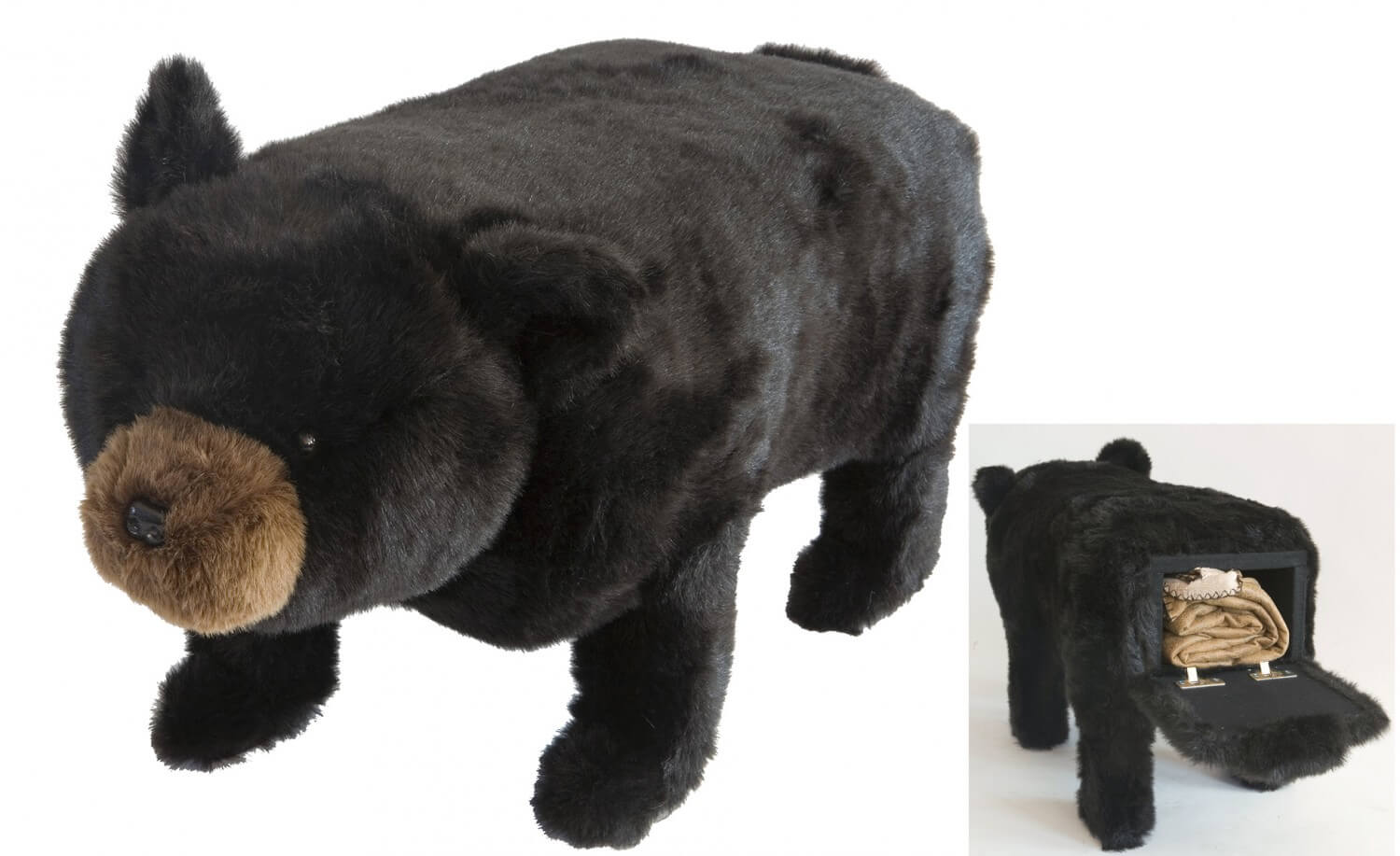Big Ben Black Bear Storage Footstool Teton Timberline