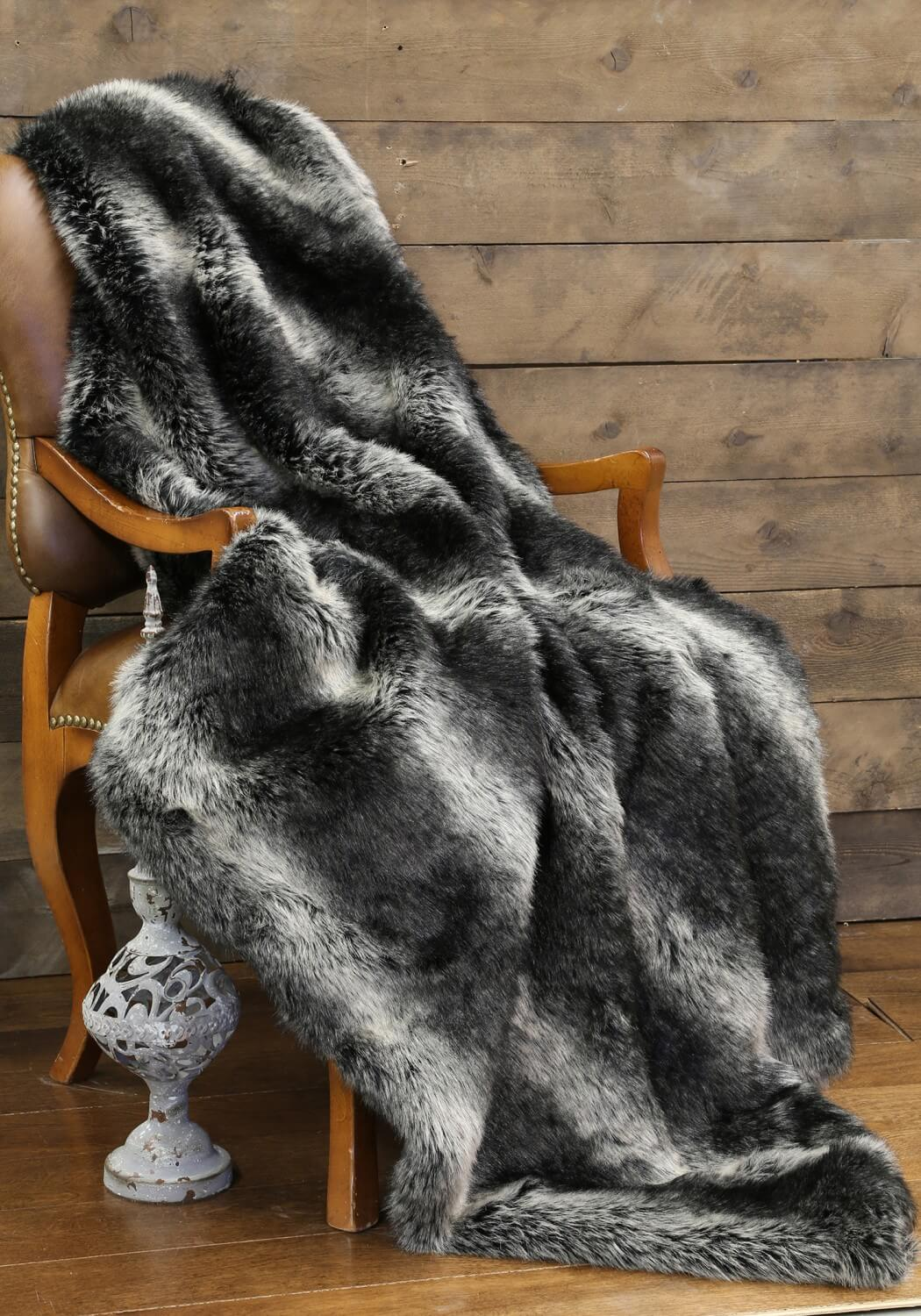 Black Wolf Faux Fur Throw Teton Timberline Trading