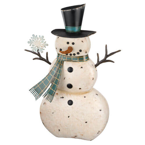 Large rustic metal snowman teton timberline trading for Rustic snowman decor