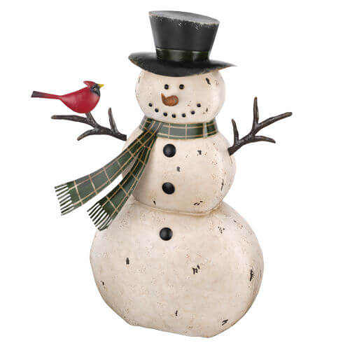 medium rustic metal snowman teton timberline trading