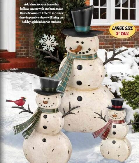 Rustic metal snowman trio teton timberline trading for Rustic snowman decor
