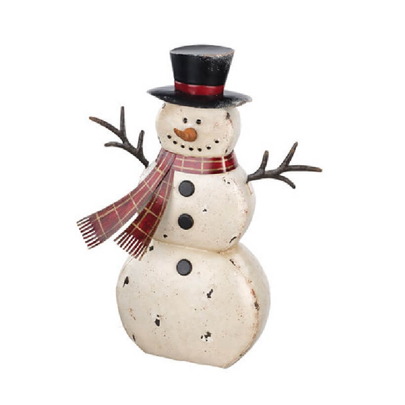 Small rustic metal snowman teton timberline trading for Rustic snowman decor
