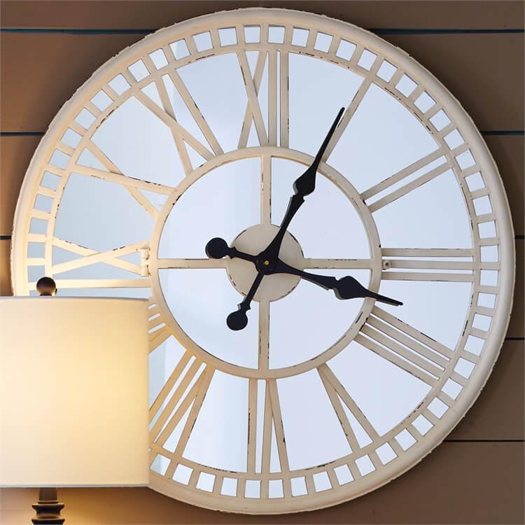 Vanilla Cream Mirror Clock Teton Timberline Trading