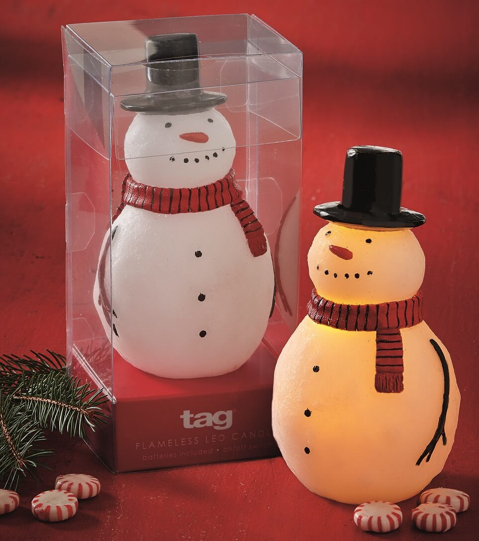 Flameless Led Snowman Candle Teton Timberline Trading