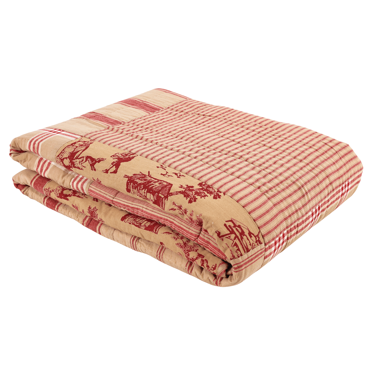 Red And Gold Home Decor Elaine Rouge Twin Patchwork Toile Quilt Teton Timberline