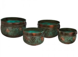 Bronze Leaves Planter Set