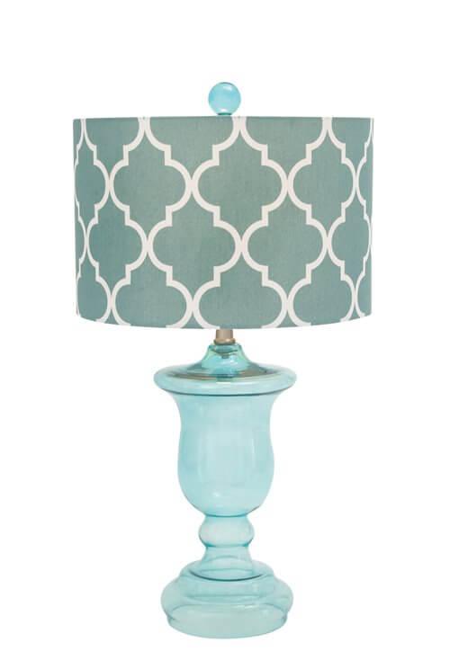 trellis print aqua glass table lamp teton timberline trading. Black Bedroom Furniture Sets. Home Design Ideas