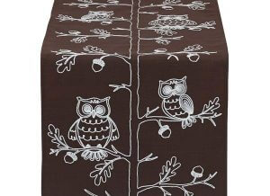 Embroidered Owls Table Runner