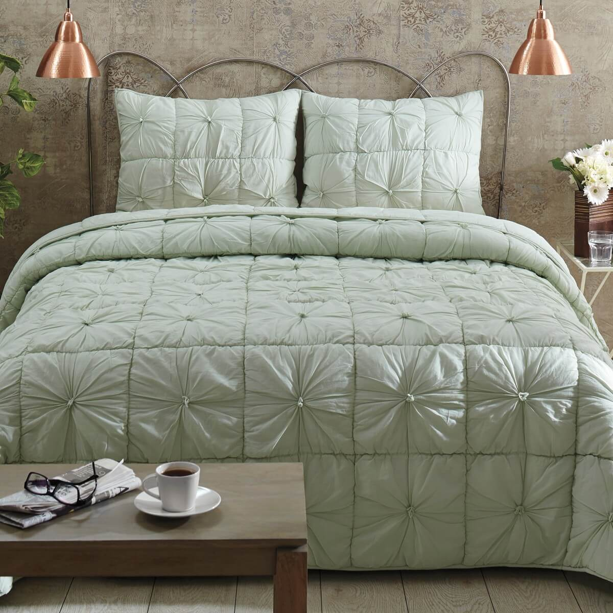 camille mint luxury king quilt set