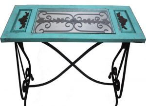 Rustic Aqua Iron Table