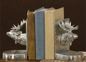 Silver Moose Bookend Set