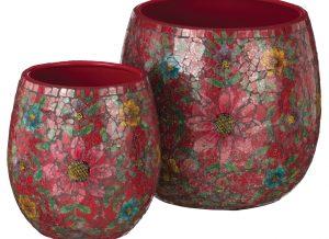 Red Floral Mosaic Planter Set