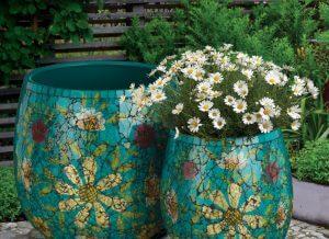 Aqua Floral Mosaic Planter Set