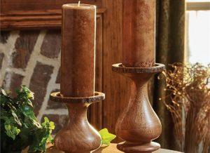 Bark Edged Small Wooden Pillar Candle Holder