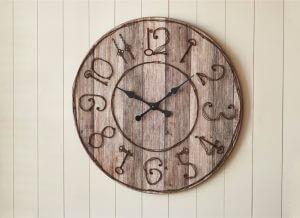 Pieced Key Numbers Wood Wall Clock