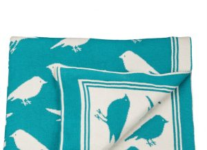 Flock of Birds Aqua Throw