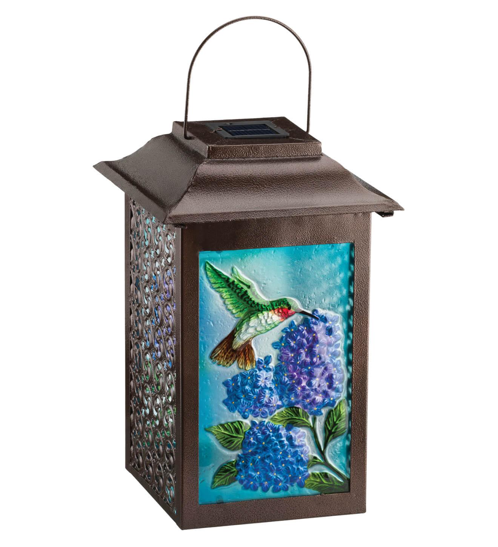 solar garden hummingbird hanging lantern teton timberline trading outdoor living. Black Bedroom Furniture Sets. Home Design Ideas