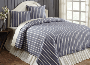 Collector Stripe Navy Queen Duvet Cover Set