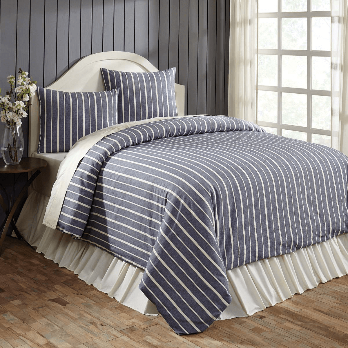 Collector Stripe Navy Queen Duvet Cover Set Teton
