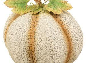 Large Rustic Ivory Metal Pumpkin