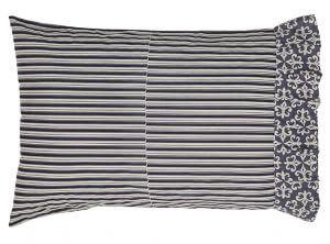 "VHC Brands. Cavalier Chalet Pillowcase, Set of 2. French country black/cream stripe with Fleur-De-Lis ruffle. 100% cotton. 21""x 30"