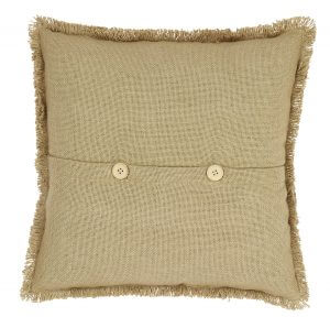 "VHC Brands. Burlap Natural Patch Pillow Cover. Each patch shows a soft ""unfinished"" reverse seam resembling fringe. Cotton is woven into the burlap fabric giving soft and natural look and feel. Pairs with our River Lodge Quilt 16″ x 16″"