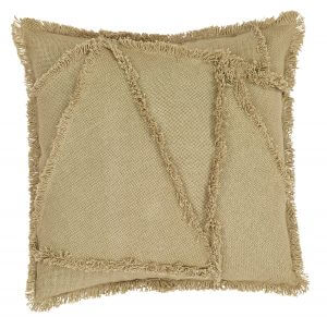 Burlap Natural Patch Pillow Cover