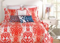 Trina Turk. Desert Adobe Comforter Set. Ikat patterned. Bright modern bohemian luxury. Red coral with white. 100% Cotton