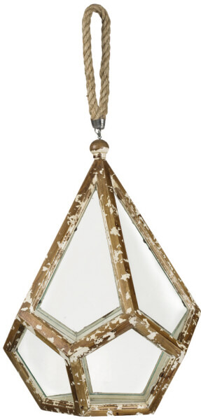 """Rustic Deluxe Diamond Lantern. Sullivan Gift. Glass Pane sides with white distressed solid wood framing. Jute rope holder. 12.5""""x 18.5"""""""