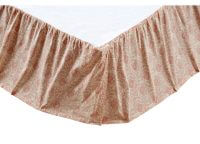 VHC Brands Romantic Ruffled Genevieve Bed Skirt. Pink toned soft floral pattern. Gathered skirt. 100% cotton