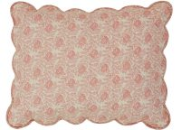 "VHC Brands Ruffled Genevieve Standard Sham. Romantic pink toned soft floral pattern. ""Wave"" quilting. 3-tie closure"