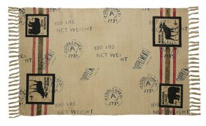 Camp Nature Trails Woven Rug. Keepsake remake of 1930's Camp Decor with wildlife stamp patterns. Woven. Fringed. Canvas-look background. 24″ X 42″, Woven cotton/canvas rug
