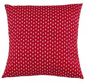 "Liberty Euro Sham. Creamy leaf motif on red cotton background. 100% Cotton. 26"" x 26"