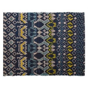 Rippling Lake Waters Placemat. Mountain Bohemian style indigo blue and golden yellow global patterned placemat. Green Product: Made of renewable resources water hyacinth. 18″ x 13""